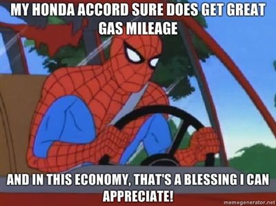 Spiderman's Honda gets great mileage