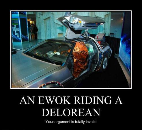 A Ewok Riding A Delorean