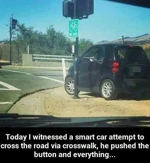 A Smart car crossing the road