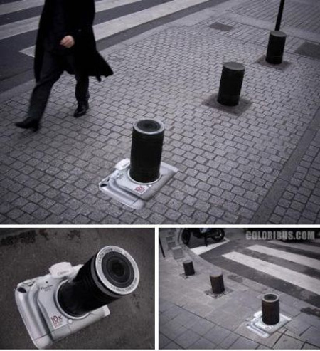 Bollard made to look like a camera