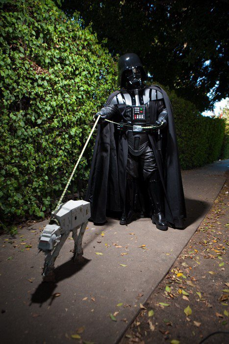Darth Vader taking AT-AT for a walk