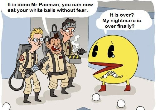 Ghostbusters helping out Pac man