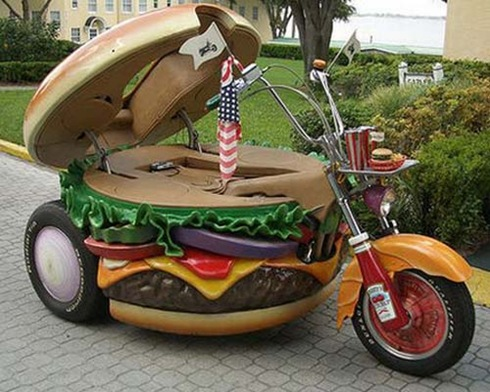 Hamburger Motorcycle Opened