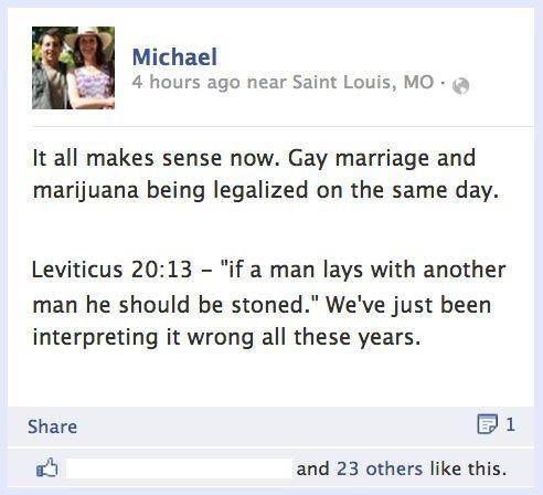 If a man lays with another man he should be stoned