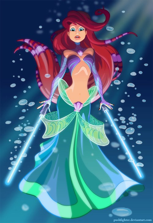Little Mermaid With Light Sabers
