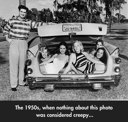 The 1950s when nothing about this photo was considered creepy