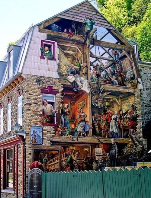 Wall art on the side of a building imghumour for 3d street painting mural art