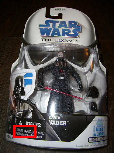 Warning Darth Vader Chooking Hazard