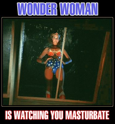 Wonder Woman is watching you masturbate