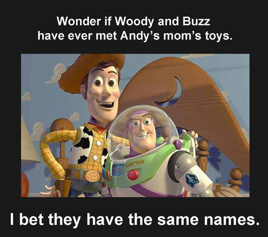 Wonder if Woody and Buzz have ever met Andys moms toys