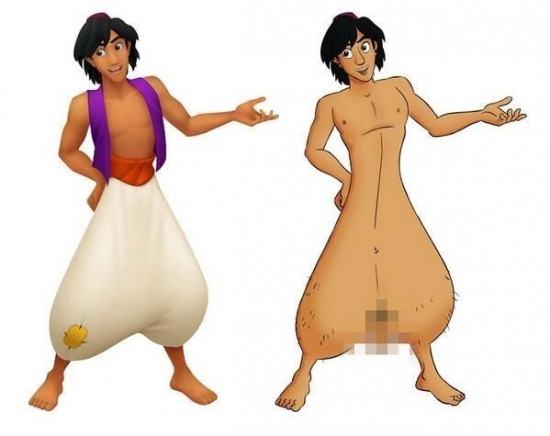 Aladdin without trousers on