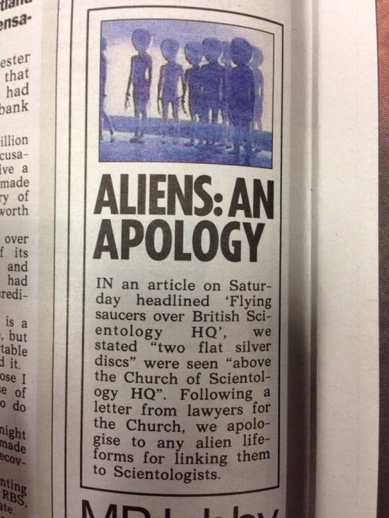 Aliens An Apology.