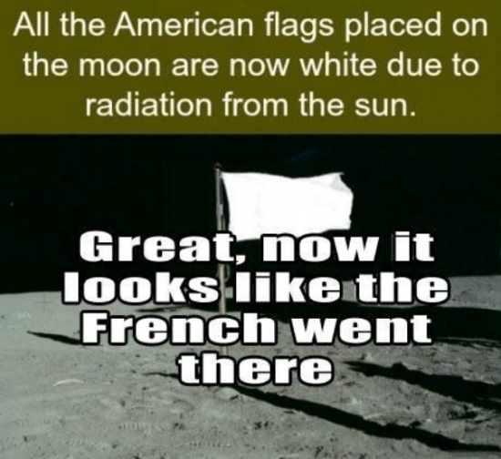 All the American flags placed on the moon as now white