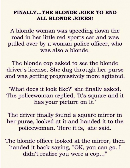 Finally the blonde joke to end all blonde jokes
