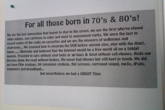 For all those born in the 70s 80s