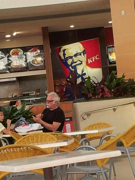 He even eats in KFC