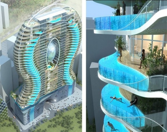 Hotel with balcony pool