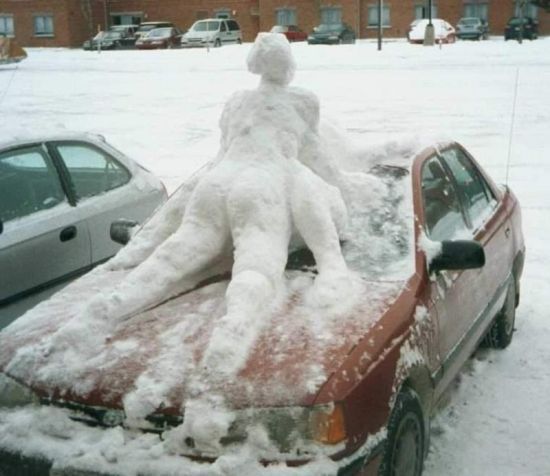 Its cold making out on the car