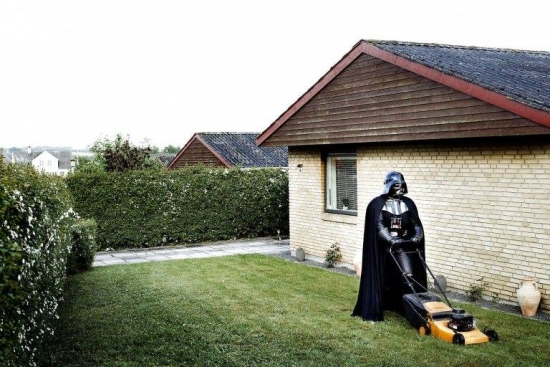 Just Darth Vader mowing the lawn