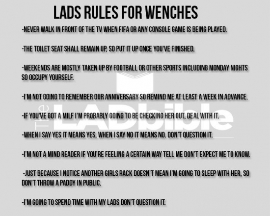 Lads Rules For Wenches