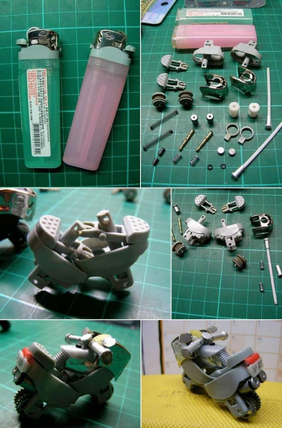 Make a motor bike from lighters