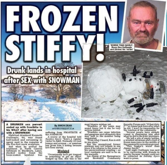 Man has sex with snowman