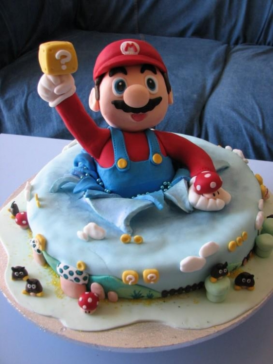 Mario popping out of a cake