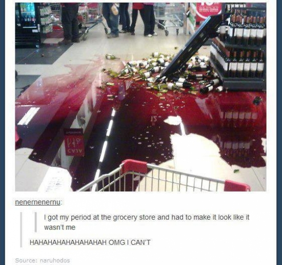 Period at the grocery store cover up