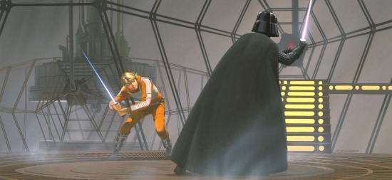 Ralph McQuarrie Darth Vader vs Luke Skywalker near window