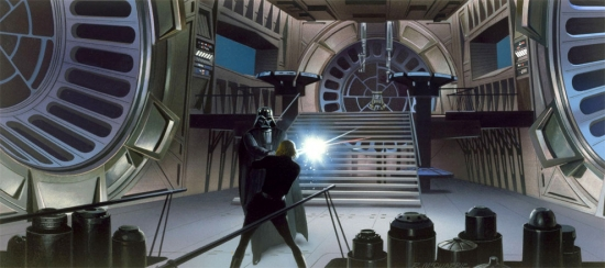 Ralph McQuarrie Luke and Darth Vader fighting