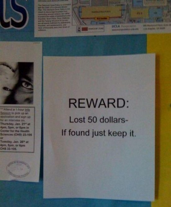 Reward Lost 50 Dollars