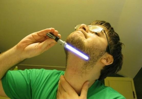 Shaving with a lightsaber