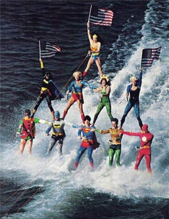 Superheroes Waterskiing