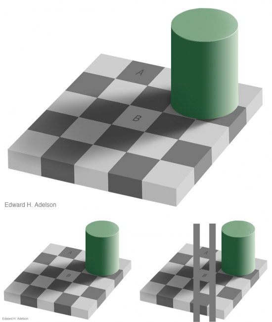 The squares marked A and B are the same shade of gray