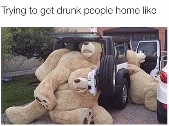 Trying to get drunk people home is like....