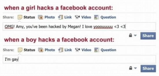 When Girls and Boys hack a Facebook account