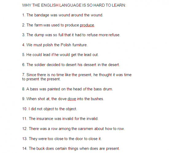 Why learning English can be hard