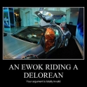 A Ewok Riding A Delorean2