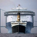 A size comparison between the titanic and a modern cruise ship