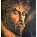 Art illusion Jesus Face and Jesus on a cross