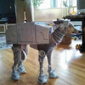 Dog dressed as an AT AT