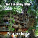 I asked my father for a tree house..