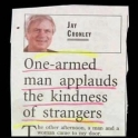 One Armed man applauds the kindness