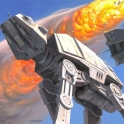 Ralph McQuarrie Snow Speeder attacking an AT AT