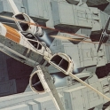 Ralph McQuarrie Tie Fighter attacking an X Wing Fighter