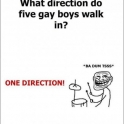 What direction do five gay boys walk in