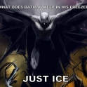 What does Batman keep in his freezer
