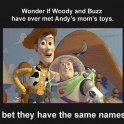 Wonder if Woody and Buzz have ever met Andys moms toys2