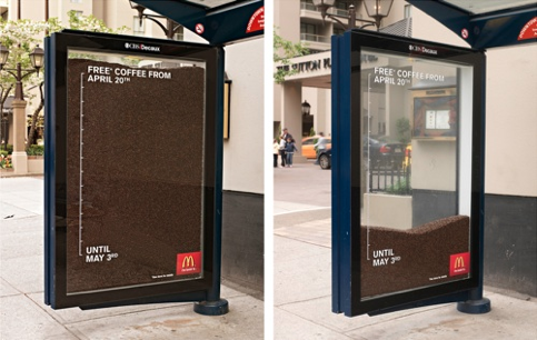 McDonalds - free coffee bus shelter